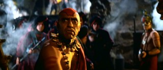 There's not a redeeming characteristic to Mola Ram (Indian actor Amrish Puri), the head-tattooed, bone-necklaced villain of the film.
