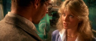 Kate Capshaw has trouble selling her character Willie Scott as either broad comic relief or, here, believable love interest. Tracy and Hepburn, it's not.