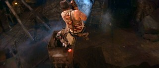 "Indiana Jones gets to add to his rope-swinging resum� while also participating in the roller coaster finale of ""Temple of Doom."""