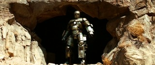 We get our first look at Iron Man (Mark 1) as he busts out of an Afghani cave.