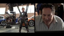 Director Jon Favreau looks pleased by the harnessed Tony Stark he sees being filmed. As if 109 minutes of footage from pre-production to premiere wasn't enough, split-screen gives us even more insight into production.