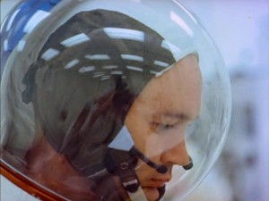 One of the astronauts ponders during his training, perhaps anxious of the voyage that awaits him.