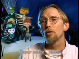 Henry Selick rocks a '90s center part and goatee while talking in front of his clay cast in the promotional Production Featurette.