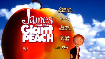 Where have you seen this menu before? On the original 2000 James and the Giant Peach DVD. Only here, the picture is expanded to fill 16:9 screens and the old Disney DVD logo has been replaced with Disney FastPlay.