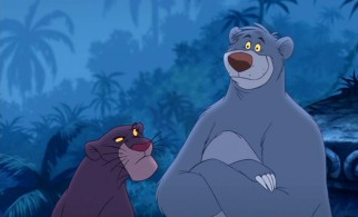 Bagheera is suspicious of Baloo's new color scheme and voice.