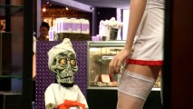 Achmed finds stimulation greater than taekwondo in the adult shop next door's bad nurse mannequin.
