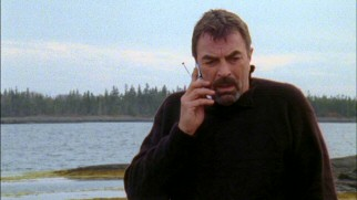 Can you hear me now? Jesse Stone (Tom Selleck) gets a cell phone, but the dead zone that is his home requires him to venture outside to take and receive calls.