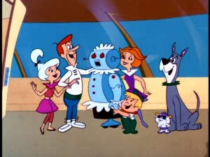 Judy, George, Elroy, Jane, Orbitty, and Astro gather around the Jetsons' robotic maid Rosie to show their appreciation for her.