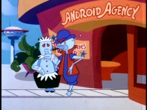 "In ""Rosie Come Home"", the Jetsons' maid goes looking for a new job, only to be get turned down by the likes of this Pimpbot."