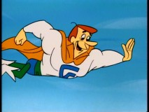 It's a bird, it's a plane, it's... SuperGeorge! The Jetsons paterfamilias boasts strength and flight when a thought materializer product breaks down. Thanks, Thinko!