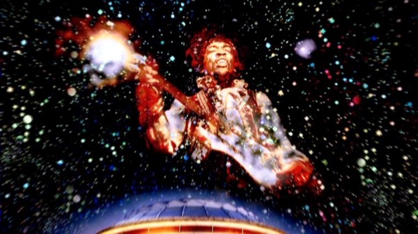 This painting of Jimi Hendrix in the starry universe makes for a powerful near-closing image.