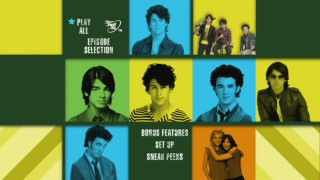 "The ""I Heart Jonas"" DVD's colorful main menu changes headshots within each cube as the show's theme song blares."