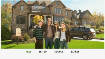 "The DVD's main menu replicates the theatrical poster showing a ""family"" portrait of the Joneses as different items in the photo are given price quotes"