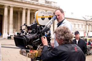 "Jon Turteltaub takes a look through the lens while directing ""National Treasure: Book of Secrets"" on historic location."