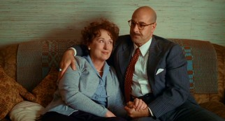 Julia Child (Meryl Streep) has a sturdy source of support in her bald, mustachioed husband Paul (Stanley Tucci).