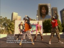 "In their ""Vertical"" music video, T-Squad dances in front of the famous Corbin Bleu Makes an Odd Face Building."