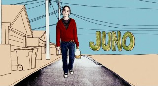 Wielding a bottle of Sunny D, 16-year-old Juno MacGuff (Ellen Page) treads across an animated terrain as her first name (the movie's title) appears in the striking opening credits sequence.