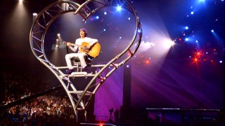 "Justin Bieber's descending heart performance of ""Favorite Girl"" is the only director's fan cut addition preserved here."