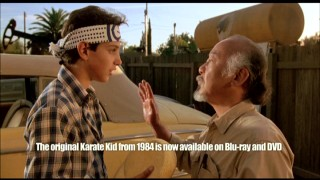 "Mr. Miyagi's (Pat Morita) ""wax on, wax off"" lesson to Daniel (Ralph Macchio) from the original 1984 ""Karate Kid"" has more meaning with a sales pitch placed over it, which the making-of featurette thankfully provides."