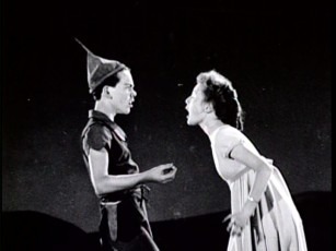 As Wendy, Kathryn Beaumont objects to the plans of Peter Pan, portrayed here by Disney veteran Bobby Driscoll, who also voiced the title part.