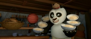 Though he dreams of grand action, panda protagonist Po (voiced by Jack Black) has a life filled with noodles.