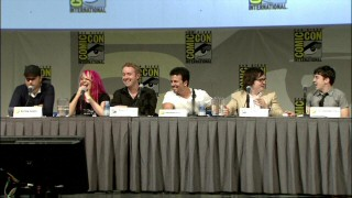 """Kick-Ass"" cast and crew members are more than pleased with the Comic-Con crowd's reaction to a clip. From left to right, they are director Matthew Vaughn, screenwriter Jane Goldman, comic authors Mark Millar and John Romita Jr., and actors Clarke Duke and Christopher Mintz-Plasse."