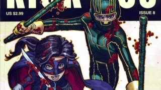 """It's On! The Comic Book Origin of 'Kick-Ass'"" shows the original Kick-Ass and Hit Girl appropriately blood-splattered as envisioned by John Romita Jr."