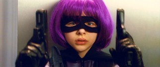 Foul-mouthed, purple-haired, 11-year-old killing machine Hit Girl (Chloë Grace Moretz) takes center stage in the film's deadly climax.