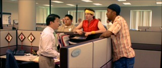Hector (Aris Alvarado), Justin, and Darnell try to convince Aki (Bobby Lee, far left) to reunite with the group's childhood dance team.