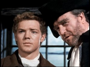 """I need to warn you about your uncle,"" Captain Hoseason (Bernard Lee, right) tells David Balfour (James MacArthur)."