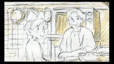 Kiki shares a tender moment with elderly client Madame in Disc 2's rough black & gold storyboard presentation of the entire film.