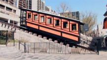 "Los Angeles sites featured in the film, like this Angels Flight funicular railway, are revisited in ""Locations Today."""