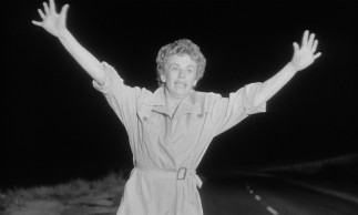 In her film debut, Cloris Leachman plays Christina Bailey, a young trenchcoated hitchhiker whose mysterious abduction and death drive the rest of the film.
