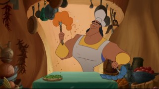 His days as evil henchman behind him, Kronk is now the top chef at Mudka's Meat Hut.