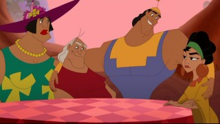 "Papi sits with Kronk, his ""wife"" Chicha and ""mother-in-law"" Pacha. Awkward dinner, anyone?"