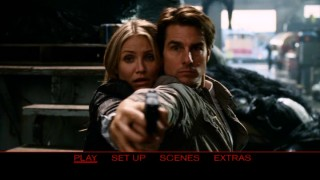 Cameron Diaz and Tom Cruise strike a classic action pose in the DVD's main menu montage.