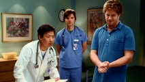 """Kuni Gone Wild"" lets the outrageous Asian gynecologist (Ken Jeong) loose, while male nurse Adam Scott and Seth Rogen try not to crack up and break character."