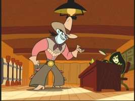 "In ""Showdown at the Crooked D"", Drakken tells Shego about the mayhem he plans with the Silly Hat."