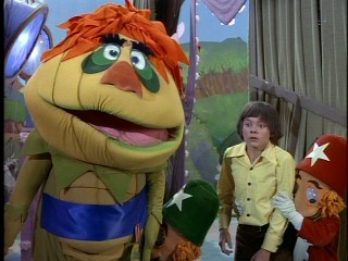 H.R. Pufnstuf and Jimmy (Jack Wild) give us their best looks of despair after Witchiepoo steals Freddy the Flute.