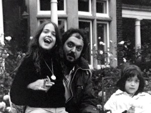 A home movie from the late-1960s shows Stanley Kubrick in a relaxed setting with two of his young daughters.