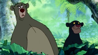 One panther's content smile is another bear's shock. Baloo and Bagheera have differing initial reactions to Mowgli's actions in the film's final sequence.