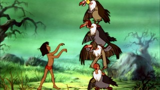 One can't help but think that cramped framing -- as seen in the vultures' totem pole stance for Mowgli -- was not a deliberate move made by Disney animators.
