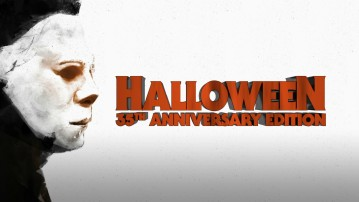 The Halloween 35th Anniversary Edition Blu-ray places a logo next to the cover's in-profile portrait of Michael Myers.
