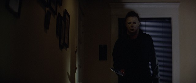 "Michael Myers wields a knife and a William Shatner mask in John Carpenter's ""Halloween."""