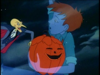 "A translucent Joe ""Pip"" Pipkin, holding a jack-o-lantern in his likeness, leads Moundshroud and the kids on an adventure through time and around the world."