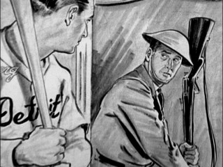 An artist's rendering of the career change Hank Greenberg made from Detroit Tigers slugger to World War II U.S. Army draftee.