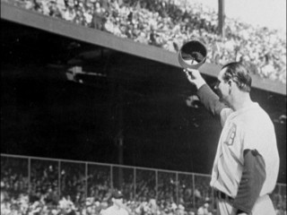 Hank Greenberg gives a tip of the cap to his Detroit fans.