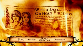 Olden newspapers report on Hansel and Gretel's witch slaying in the opening credits and on the main menu.