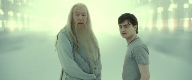 Harry Potter (Daniel Radcliffe) reconnects with deceased Hogwarts headmaster Albus Dumbledore (Michael Gambon) inside his head, for real.