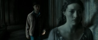 In the quest for Rowena Ravenclaw's diadem, Harry turns to her spectral daughter Helena (Kelly Macdonald).